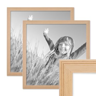 2er Set Landhaus-Bilderrahmen 30x30 cm Holz Natur Massivholz mit Glasscheibe und Zubehör / Fotorahmen