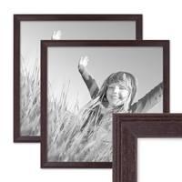2er Set Landhaus-Bilderrahmen 30x30 cm Nuss Modern Massivholz