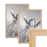 2er Set Landhaus-Bilderrahmen 30x42 cm / DIN A3 Holz Natur Massivholz mit Glasscheibe und Zubehör / Fotorahmen  – Bild 1