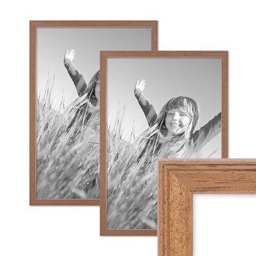 2er Set Landhaus-Bilderrahmen 30x42 cm / DIN A3 Eiche-Optik Massivholz mit Glasscheibe und Zubehör / Fotorahmen