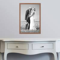 3er Set Landhaus-Bilderrahmen 30x45 cm Eiche-Optik Massivholz mit Glasscheibe und Zubehör / Fotorahmen  – Bild 2