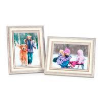 2er Set Bilderrahmen Shabby-Chic Landhaus-Stil Weiss 18x24 cm Massivholz mit Glasscheibe und Zubehör / Fotorahmen  – Bild 1