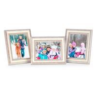 3er Set Bilderrahmen Shabby-Chic Landhaus-Stil Weiss 18x24 cm Massivholz mit Glasscheibe und Zubehör / Fotorahmen  – Bild 7
