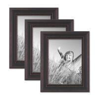 3er Set Bilderrahmen Shabby-Chic Landhaus-Stil Dunkelbraun 18x24 cm Massivholz mit Glasscheibe und Zubehör / Fotorahmen  – Bild 1