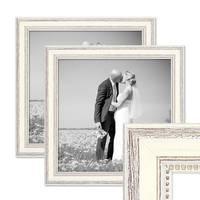 2er Bilderrahmen-Set Shabby-Chic Landhaus-Stil Weiss 30x30 cm Massivholz