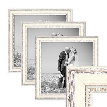 3er Set Bilderrahmen Shabby-Chic Landhaus-Stil Weiss 30x30 cm Massivholz mit Glasscheibe und Zubehör / Fotorahmen