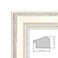 3er Set Bilderrahmen Shabby-Chic Landhaus-Stil Weiss 30x30 cm Massivholz mit Glasscheibe und Zubehör / Fotorahmen  – Bild 2