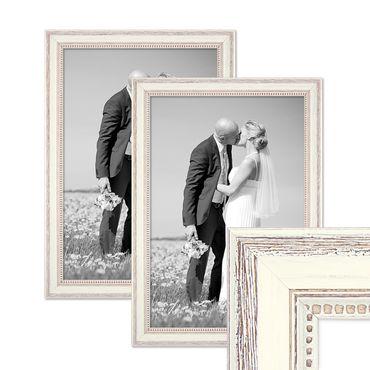 2er Set Bilderrahmen Shabby-Chic Landhaus-Stil Weiss 30x40 cm Massivholz mit Glasscheibe und Zubehör / Fotorahmen