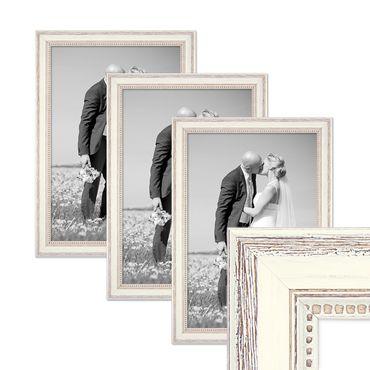 3er Set Bilderrahmen Shabby-Chic Landhaus-Stil Weiss 30x42 cm / DIN A3 Massivholz mit Glasscheibe und Zubehör / Fotorahmen