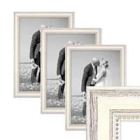 3er Set Bilderrahmen Shabby-Chic Landhaus-Stil Weiss 30x42 cm / DIN A3 Massivholz mit Glasscheibe und Zubehör / Fotorahmen  – Bild 1