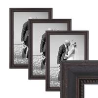 3er Set Bilderrahmen Shabby-Chic Landhaus-Stil Dunkelbraun 30x45 cm Massivholz mit Glasscheibe und Zubehör / Fotorahmen  – Bild 1