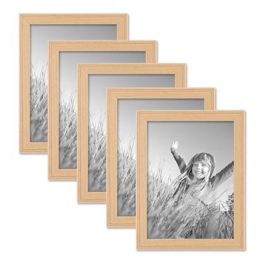 5er Set Landhaus-Bilderrahmen 18x24 cm Holz Natur Massivholz mit Glasscheibe und Zubehör / Fotorahmen