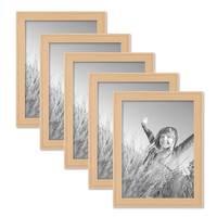 5er Set Landhaus-Bilderrahmen 18x24 cm Holz Natur Massivholz mit Glasscheibe und Zubehör / Fotorahmen  – Bild 1