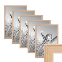 5er Set Landhaus-Bilderrahmen 30x42 / DIN A3 cm Holz Natur Massivholz mit Glasscheibe und Zubehör / Fotorahmen  – Bild 1