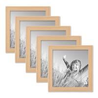 5er Set Landhaus-Bilderrahmen 15x15 cm Holz Natur Massivholz mit Glasscheibe – Bild 1