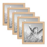 5er Set Landhaus-Bilderrahmen 20x20 cm Holz Natur Massivholz mit Glasscheibe und Zubehör / Fotorahmen  – Bild 1