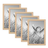 5er Set Landhaus-Bilderrahmen 21x30 cm DIN A4 Holz Natur Massivholz mit Glasscheibe – Bild 1