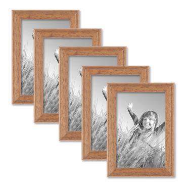 5er Set Landhaus-Bilderrahmen 10x15 cm Eiche-Optik Massivholz mit Glasscheibe