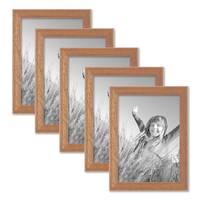 5er Set Landhaus-Bilderrahmen 13x18 cm Eiche-Optik Massivholz mit Glasscheibe zum Stellen oder Hängen
