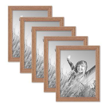 5er Set Landhaus-Bilderrahmen 15x20 cm Eiche-Optik Massivholz mit Glasscheibe zum Stellen oder Hängen