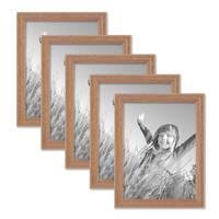 5er Set Landhaus-Bilderrahmen 15x20 cm Eiche-Optik Massivholz mit Glasscheibe zum Stellen oder Hängen – Bild 1