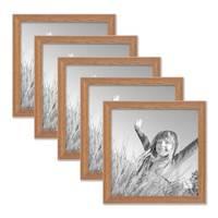 5er Set Landhaus-Bilderrahmen 20x20 cm Eiche-Optik Massivholz