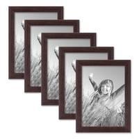 5er Set Landhaus-Bilderrahmen 13x18 cm Nuss Modern Massivholz mit Glasscheibe zum Stellen oder Hängen