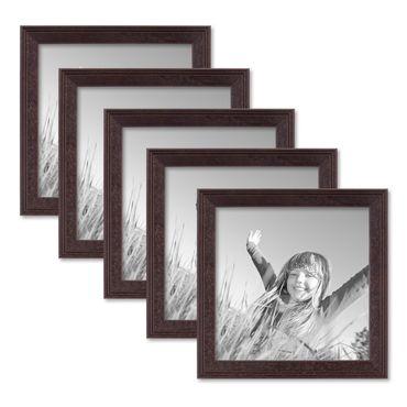 5er Set Landhaus-Bilderrahmen 15x15 cm Nuss Modern Massivholz mit Glasscheibe