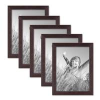 5er Set Landhaus-Bilderrahmen 15x20 cm Nuss Modern Massivholz mit Glasscheibe zum Stellen oder Hängen