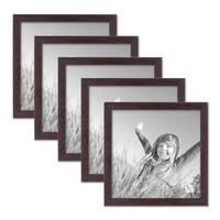 5er Set Landhaus-Bilderrahmen 20x20 cm Nuss Modern Massivholz