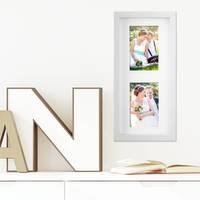 Fotocollage-Bilderrahmen Modern, Weiss, MDF-Objektrahmen, Bildergalerie-Rahmen Tief für 2 Bilder 10x15 cm, 3D-Rahmen mit Passepartout – Bild 4