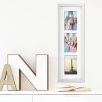 Fotocollage-Bilderrahmen Modern, Weiss, MDF-Objektrahmen, Bildergalerie-Rahmen Tief für 3 Bilder 10x15 cm, 3D-Rahmen mit Passepartout – Bild 4