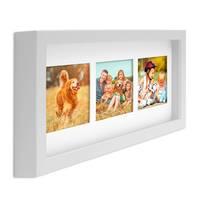 Fotocollage-Bilderrahmen Modern, Weiss, MDF-Objektrahmen, Bildergalerie-Rahmen Tief für 3 Bilder 10x15 cm, 3D-Rahmen mit Passepartout – Bild 1