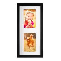 Fotocollage-Bilderrahmen Modern, Schwarz, MDF-Objektrahmen, Bildergalerie-Rahmen Tief für 2 Bilder 10x15 cm, 3D-Rahmen mit Passepartout – Bild 3