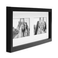 Fotocollage-Bilderrahmen Modern, Schwarz, MDF-Objektrahmen, Bildergalerie-Rahmen Tief für 2 Bilder 10x15 cm, 3D-Rahmen mit Passepartout – Bild 6