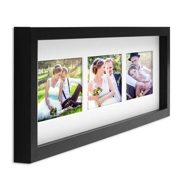 Fotocollage-Bilderrahmen Modern, Schwarz, MDF-Objektrahmen, Bildergalerie-Rahmen Tief für 3 Bilder 10x15 cm, 3D-Rahmen mit Passepartout