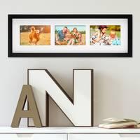 Fotocollage-Bilderrahmen Modern, Schwarz, MDF-Objektrahmen, Bildergalerie-Rahmen Tief für 3 Bilder 10x15 cm, 3D-Rahmen mit Passepartout – Bild 2