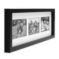Fotocollage-Bilderrahmen Modern, Schwarz, MDF-Objektrahmen, Bildergalerie-Rahmen Tief für 3 Bilder 10x15 cm, 3D-Rahmen mit Passepartout – Bild 6