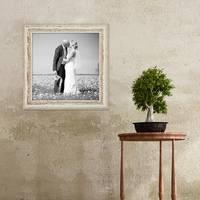 2er Set Vintage Bilderrahmen 30x30 cm Weiss Shabby-Chic Massivholz mit Glasscheibe und Zubehör / Fotorahmen / Nostalgierahmen  – Bild 3