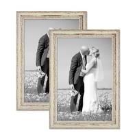 2er Set Vintage Bilderrahmen 30x42 cm / DIN A3 Weiss Shabby-Chic Massivholz mit Glasscheibe und Zubehör / Fotorahmen / Nostalgierahmen  – Bild 1