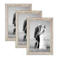 Vintage Bilderrahmen 3er Set 30x45 cm Weiss Shabby-Chic