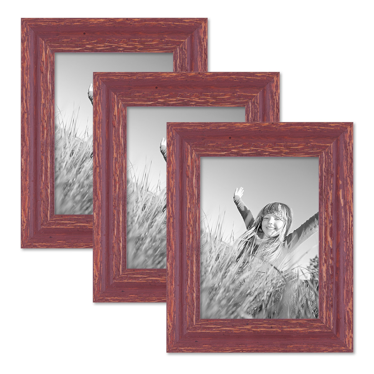 3er set bilderrahmen 18x24 cm holz rot braun shabby chic vintage massivholz mit glasscheibe und. Black Bedroom Furniture Sets. Home Design Ideas