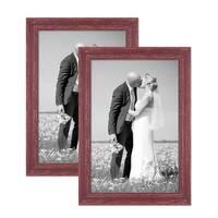 2er Set Vintage Bilderrahmen 30x45 cm Holz Rot-Braun Shabby-Chic Massivholz mit Glasscheibe und Zubehör / Fotorahmen / Nostalgierahmen  – Bild 1