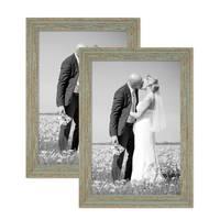 2er Set Vintage Bilderrahmen 30x40 cm Grau-Grün Shabby-Chic Massivholz mit Glasscheibe und Zubehör / Fotorahmen / Nostalgierahmen  – Bild 1
