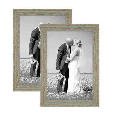 2er Set Vintage Bilderrahmen 30x42 cm / DIN A3 Grau-Grün Shabby-Chic Massivholz mit Glasscheibe und Zubehör / Fotorahmen / Nostalgierahmen