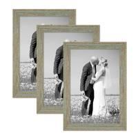 3er Set Vintage Bilderrahmen 30x42 cm / DIN A3 Grau-Grün Shabby-Chic Massivholz mit Glasscheibe und Zubehör / Fotorahmen / Nostalgierahmen  – Bild 1