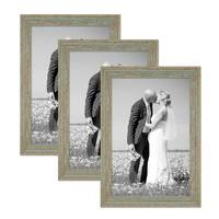 Vintage Bilderrahmen 3er Set 30x42 cm / DIN A3 Grau-Grün Shabby-Chic