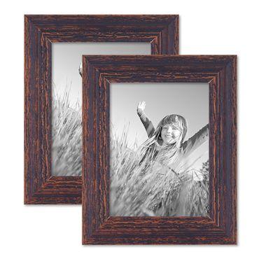 2er Set Vintage Bilderrahmen 18x24 cm Holz Dunkelbraun Shabby-Chic Massivholz mit Glasscheibe und Zubehör / Fotorahmen / Nostalgierahmen