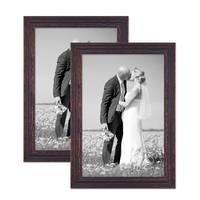 2er Set Vintage Bilderrahmen 30x40 cm Holz Dunkelbraun Shabby-Chic Massivholz mit Glasscheibe und Zubehör / Fotorahmen / Nostalgierahmen  – Bild 1