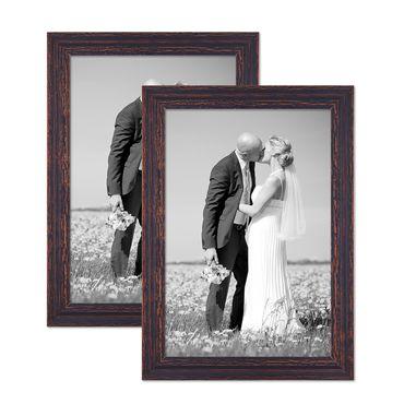 2er Set Vintage Bilderrahmen 30x42 cm / DIN A3 Holz Dunkelbraun Shabby-Chic Massivholz mit Glasscheibe und Zubehör / Fotorahmen / Nostalgierahmen